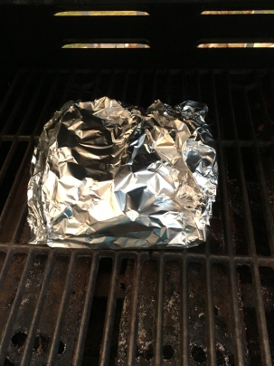 Foil packet placed over indirect heat for 10-12 minutes.