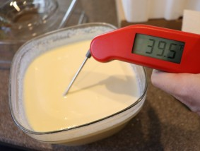 Custard chilled to below 40 degrees.