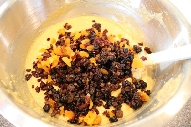 Chopped dried fruit added to batter.