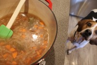 Meat removed from liquid and liquid poured into Dutch oven.