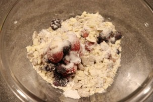 Frozen berries, sugar, cornstarch, and some of the crisp topping.