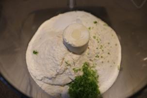 Flour, sugar, lime zest, and Kosher salt in food processor.