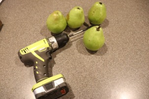 Pears, ready to be cored with a spade drill bit.