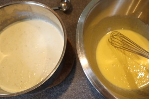 Ready to slowly add warm cream to yolks.