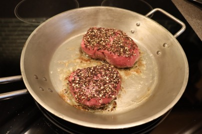 Filets in pan for four minutes on each side.